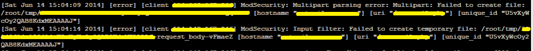 ModSecurity: Multipart parsing error: Multipart: Failed to create file: /root/tmp/